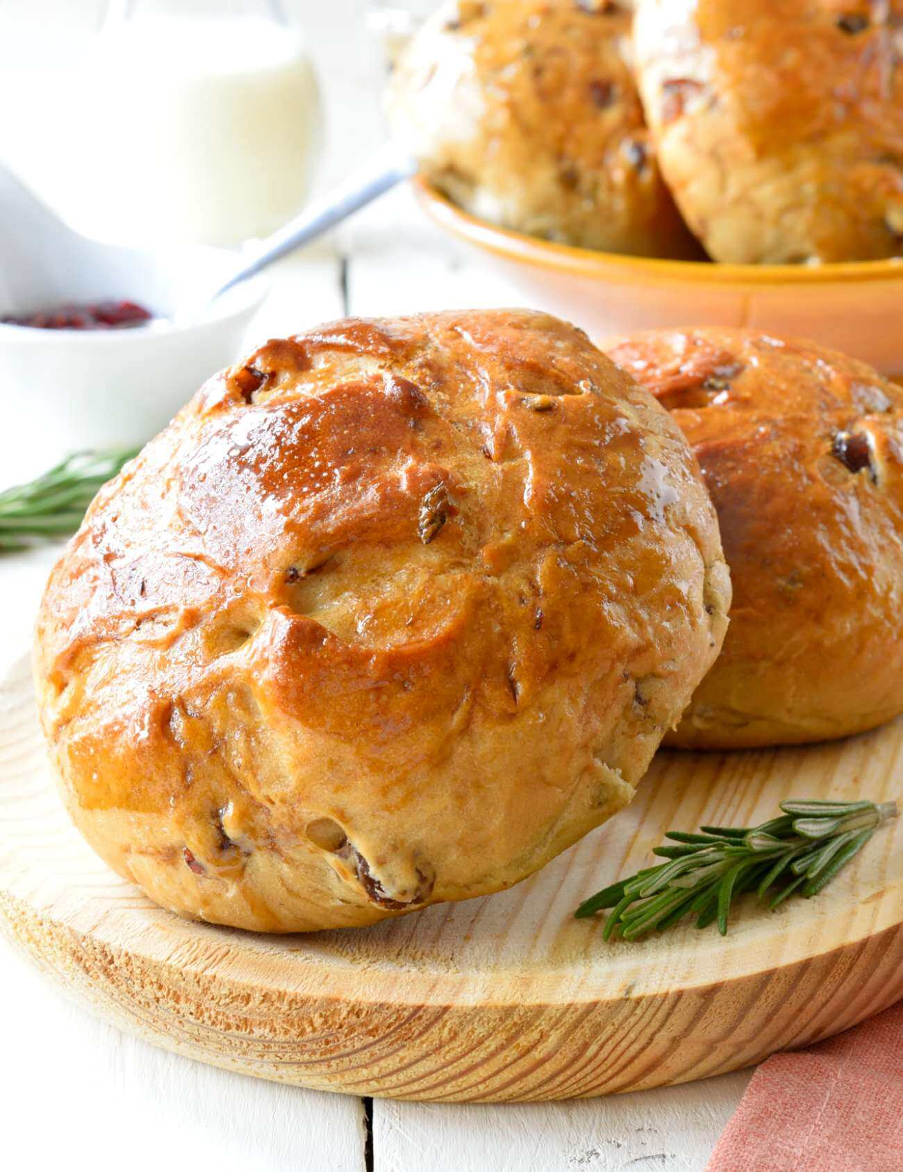 Vegan Rosemary Easter Sweet Bread Bun