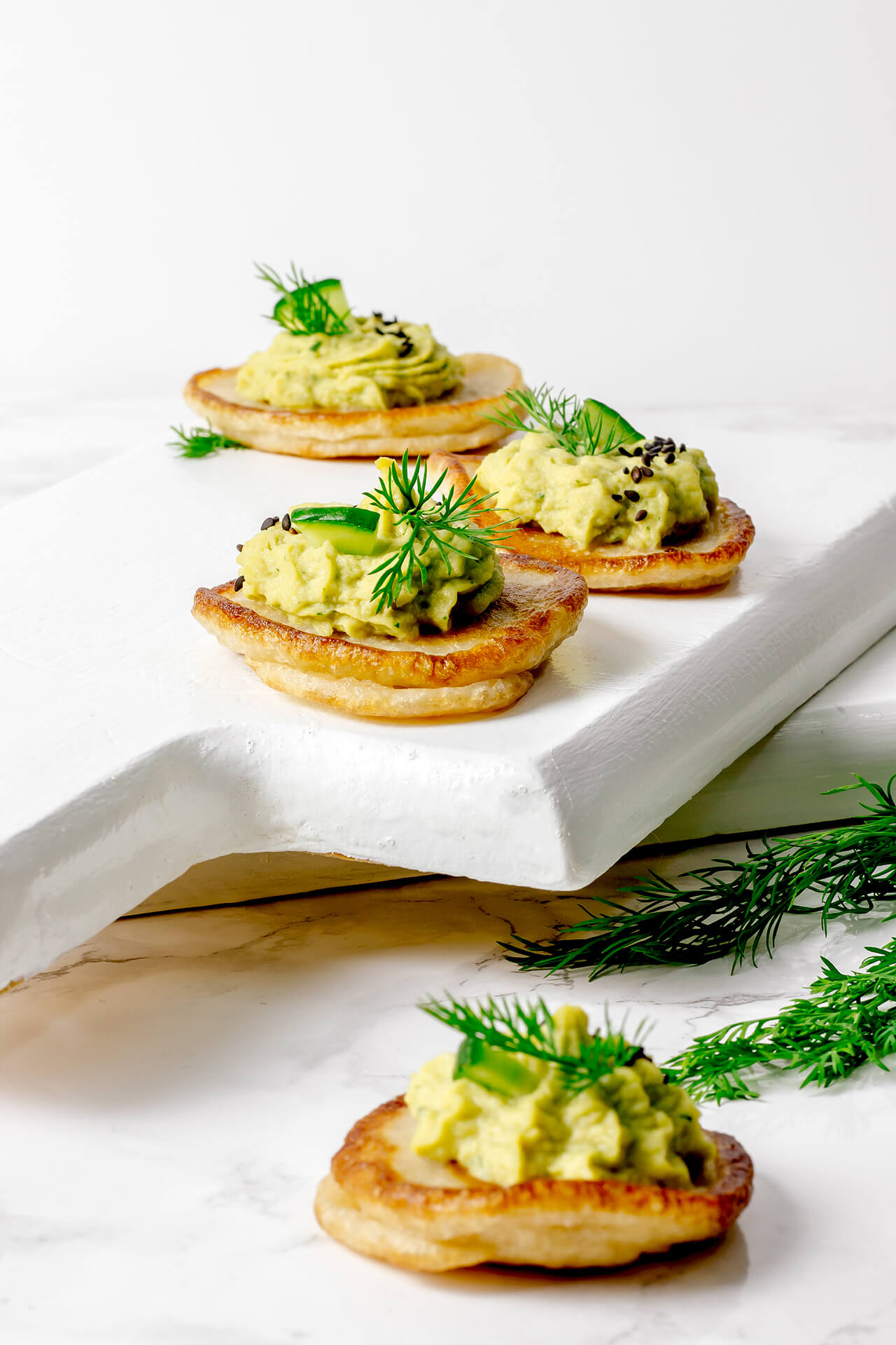 Vegan Blini with Avocado Hummus