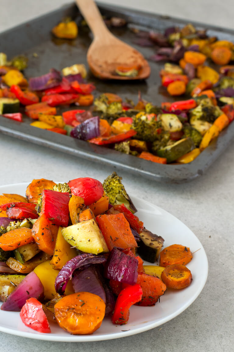 Vegan Rainbow Roasted Vegetables