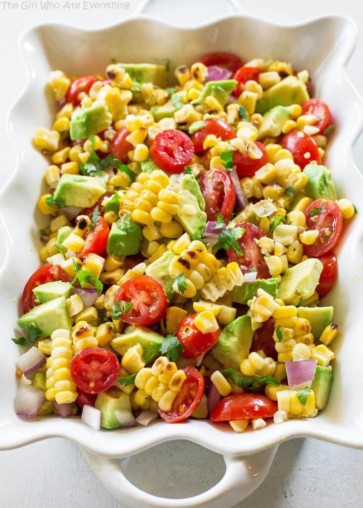 Vegan Corn Avocado and Tomato Salad