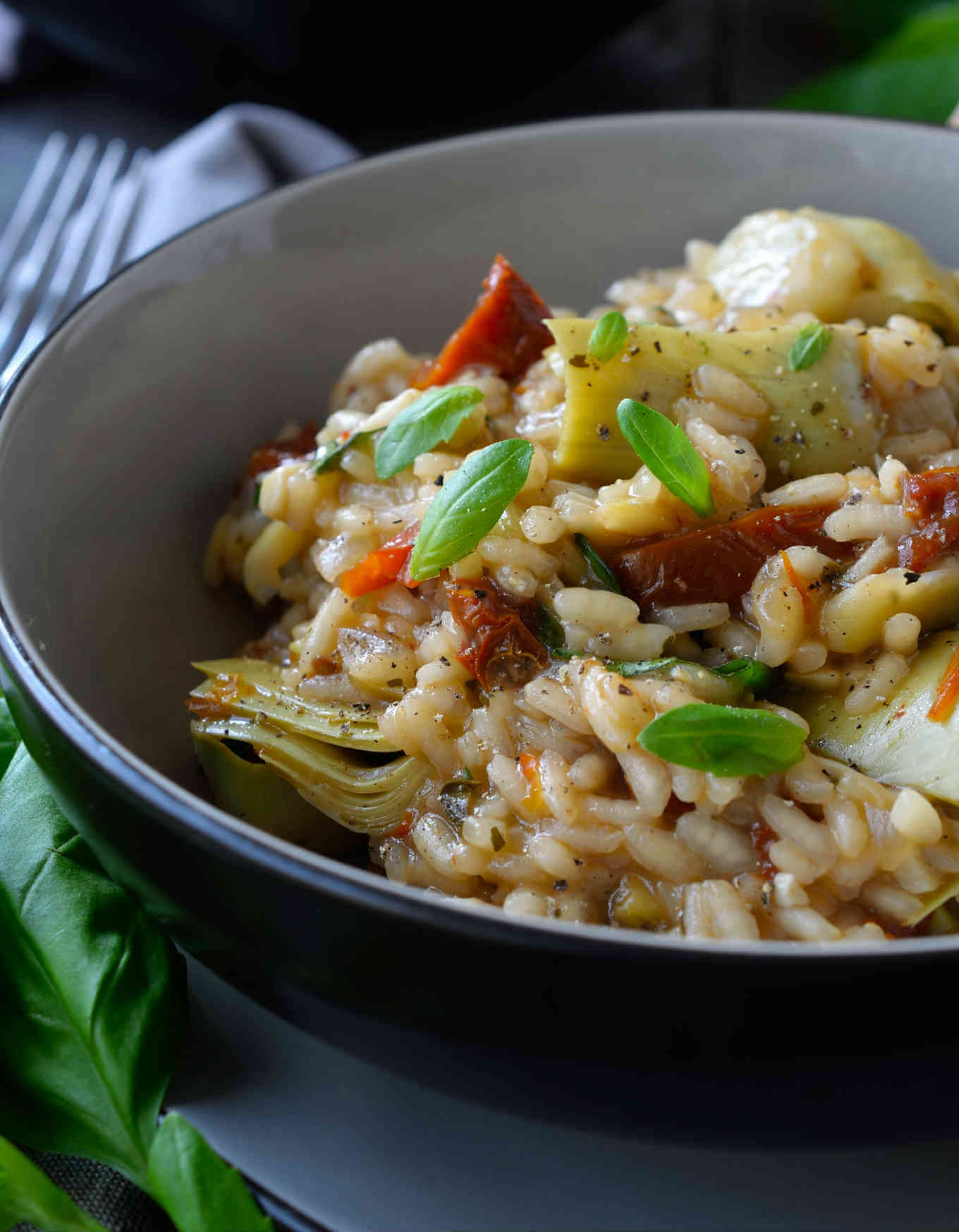 Vegan Artichoke Sun-dried Tomato Risotto