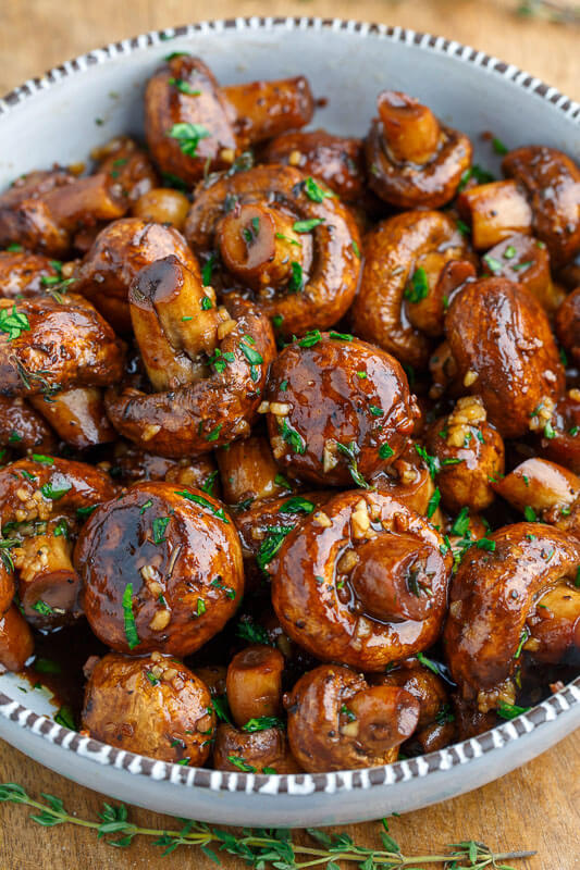 Vegan Balsamic Soy Roasted Garlic Mushrooms