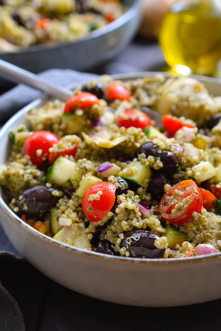 Vegan Pesto Quinoa Salad
