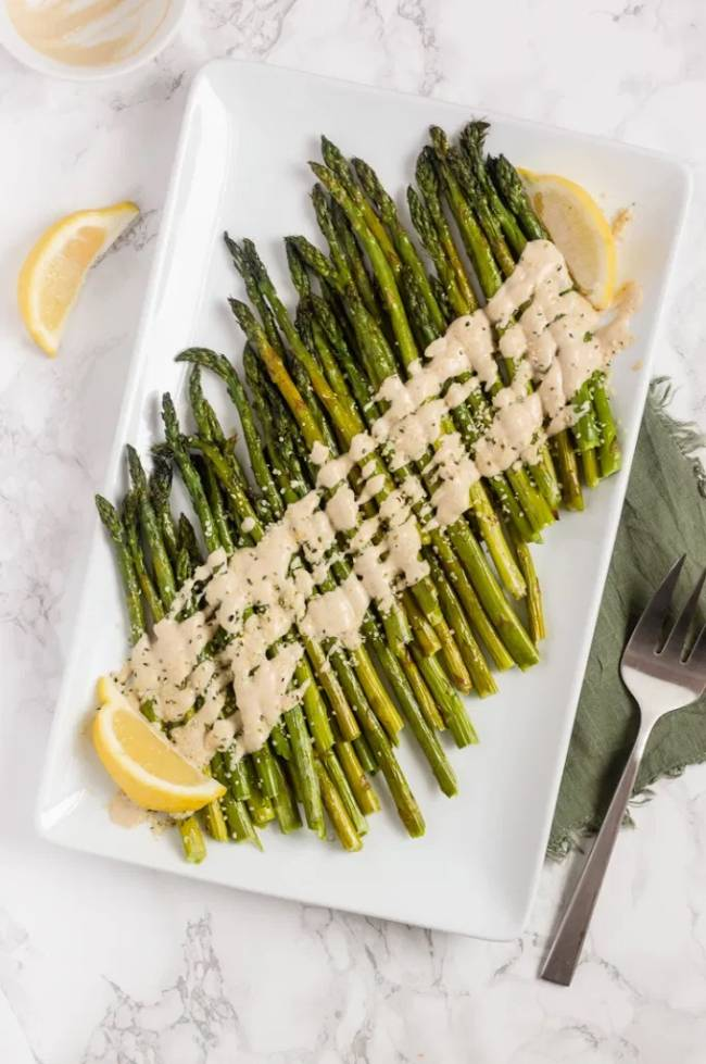 Roasted Asparagus with Lemon Tahini