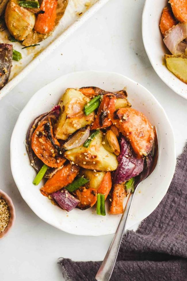 Miso Glazed Roasted Root Vegetables
