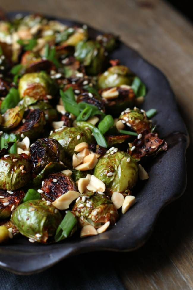 Maple Gochujang Roasted Brussels Sprouts