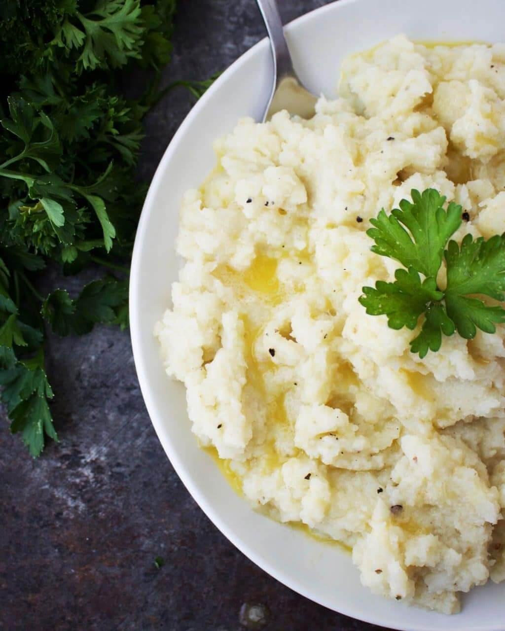 Vegan Garlicky Mashed Cauliflower