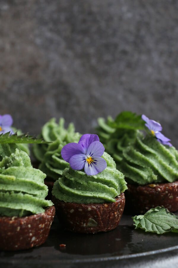 Vegan Raw Chocolate Nettle Cupcakes