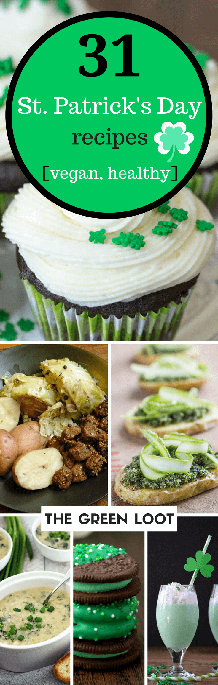 Vegan St. Patrick's Day recipes include healthy, green food like appetizers and desserts. Whether it's cake, cupcakes, shepherd pie or else, you can easily make these awesome healthy meals to celebrate this fun Irish day! | The Green Loot #vegan #stpatricksday