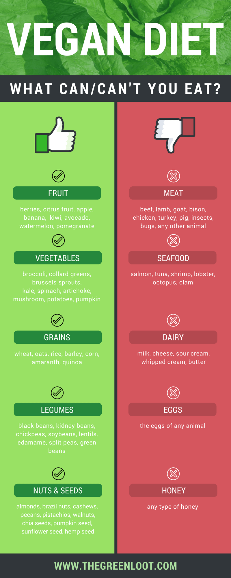 Are you starting a vegan diet and wondering: what can vegans eat? Then, you will find this article an easy and useful guide to help you learn the typical vegan diet. Beginner-friendly! | The Green Loot #vegan