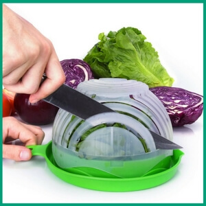 Salad Cutter Bowl - Must-Have Kitchen Appliances and Gadgets for Vegans | The Green Loot #vegan #kitchen