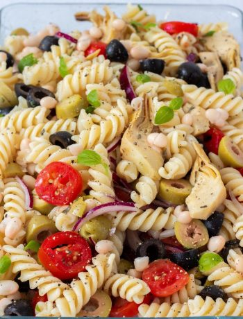 Oh, and another thing. I genuinely think, that pasta salads are much better cold. The flavors are just more intense. So give it a try and let me know how you liked it!