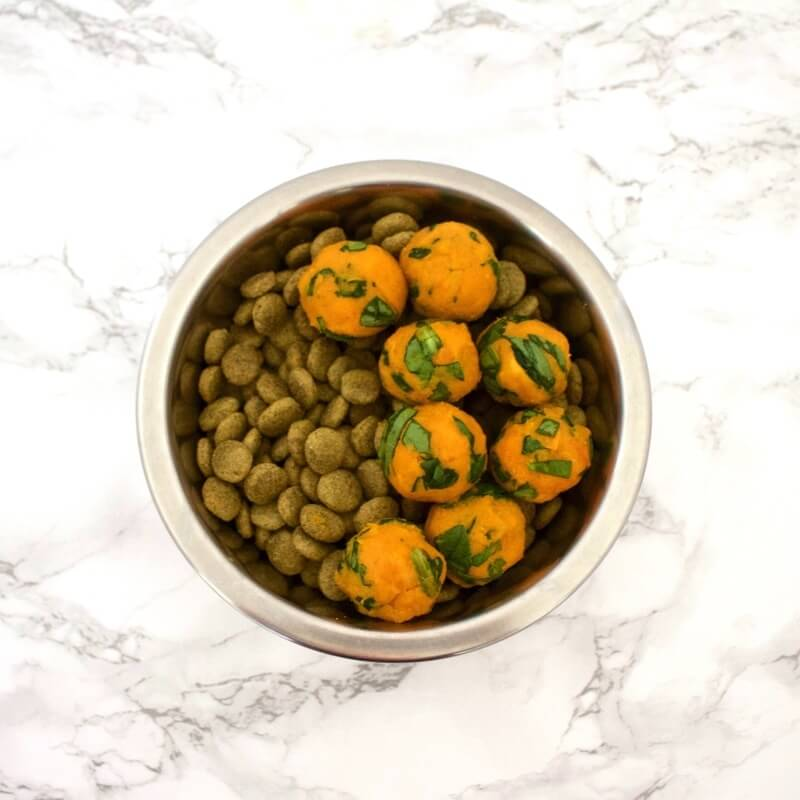 Vegan Sweet Potato & Spinach Bites | The Green Loot #vegan #dogfood