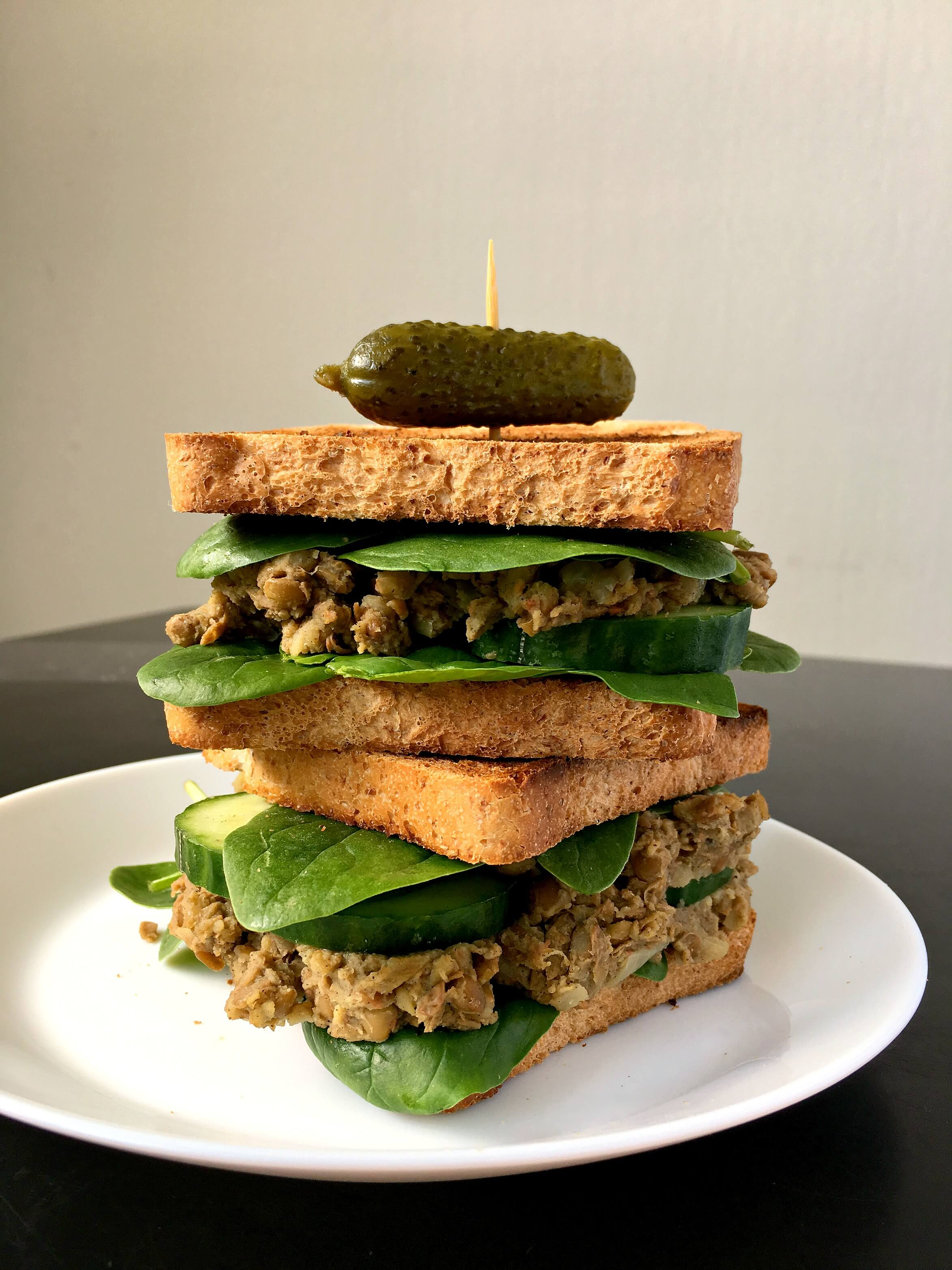 "This Vegan Lentil ""Tuna"" Salad Sandwich is a super easy lunch that's high in protein and rich in flavours. Beginner-friendly! 