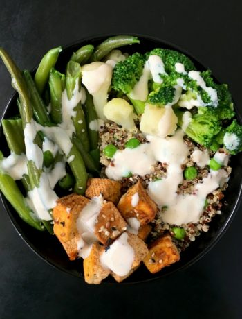 Vegan Protein Buddha Bowl with Soy Yogurt Dressing - a super protein-rich and tasty meal made with quinoa, broccoli, tofu and green beans. This dinner is as healthy as it gets. | The Green Loot #vegan