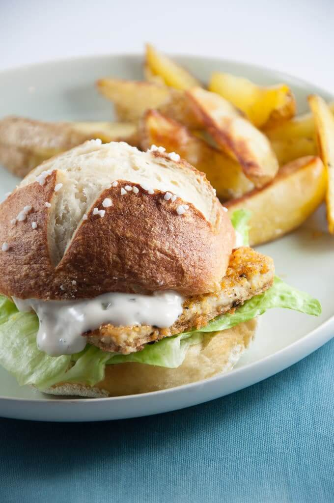 Vegan Fish Burger with Pretzel Rolls