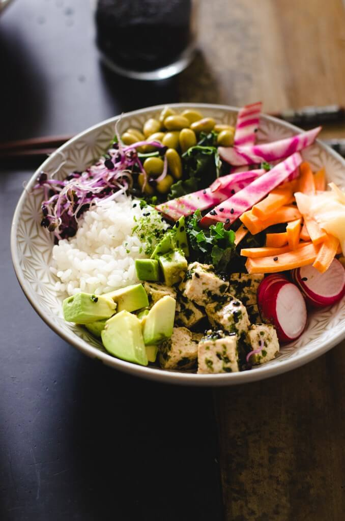 Vegan Sushi Bowl with Sesame Seaweed Tofu