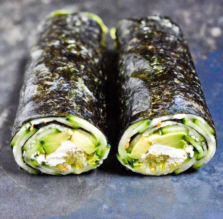 Vegan Cucumber Avocado Nori Rolls