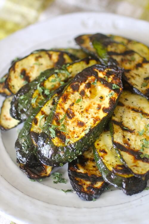 Vegan Lemon Garlic Grilled Zucchini