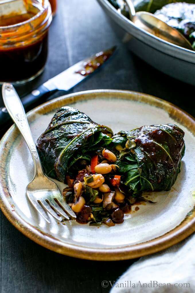 Vegan BBQ Black Eyed Pea Collard Rolls