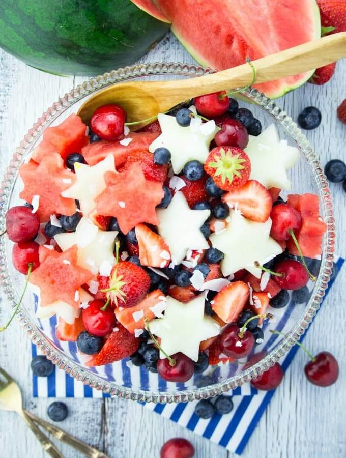 Vegan 4th of July Fruit Salad