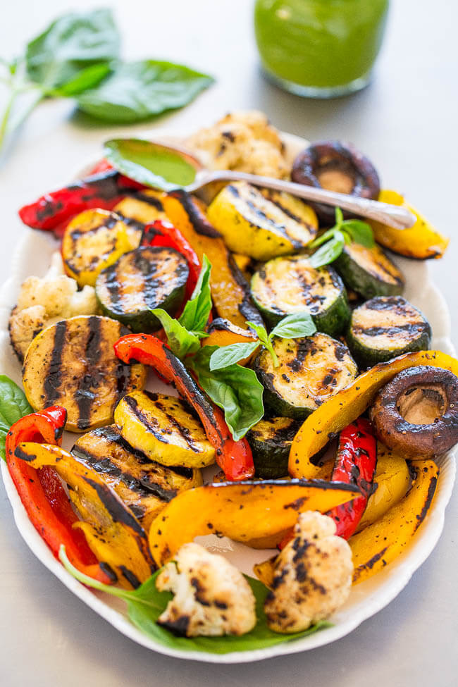 Vegan Grilled Vegetables with Basil Vinaigrette