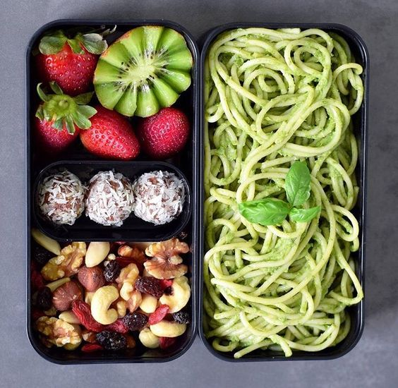 Vegan Basil Pesto Pasta, Fruit, Energy Balls, Nuts | The Green Loot #vegan #bento