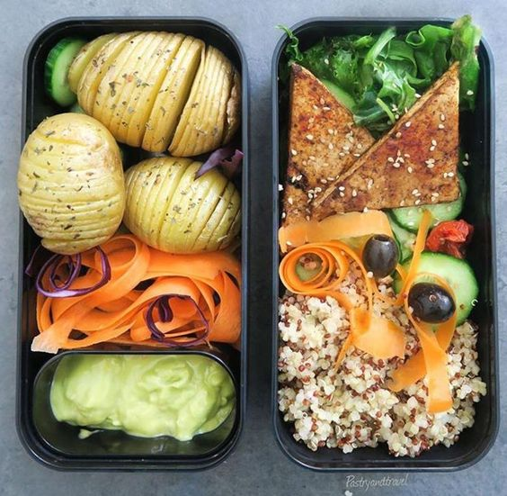 Vegan Tofu, Quinoa, Hasselback Potatoes | The Green Loot #vegan #bento