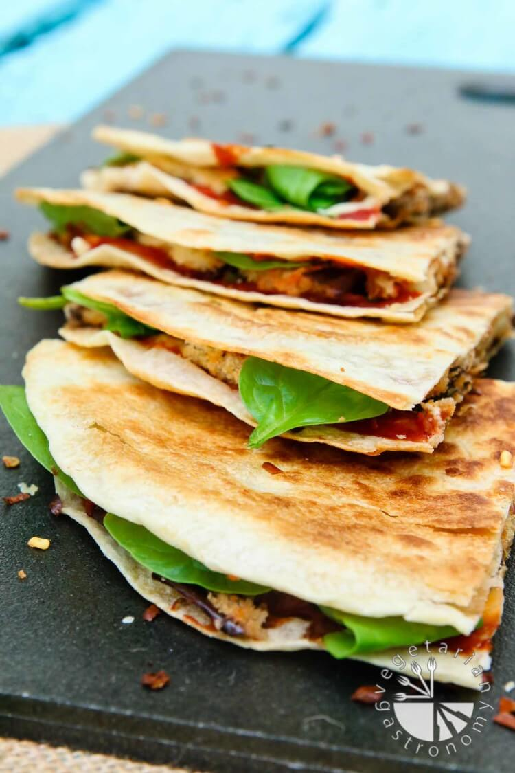 Vegan Grilled Crispy Eggplant & Spinach Vegan Quesadillas