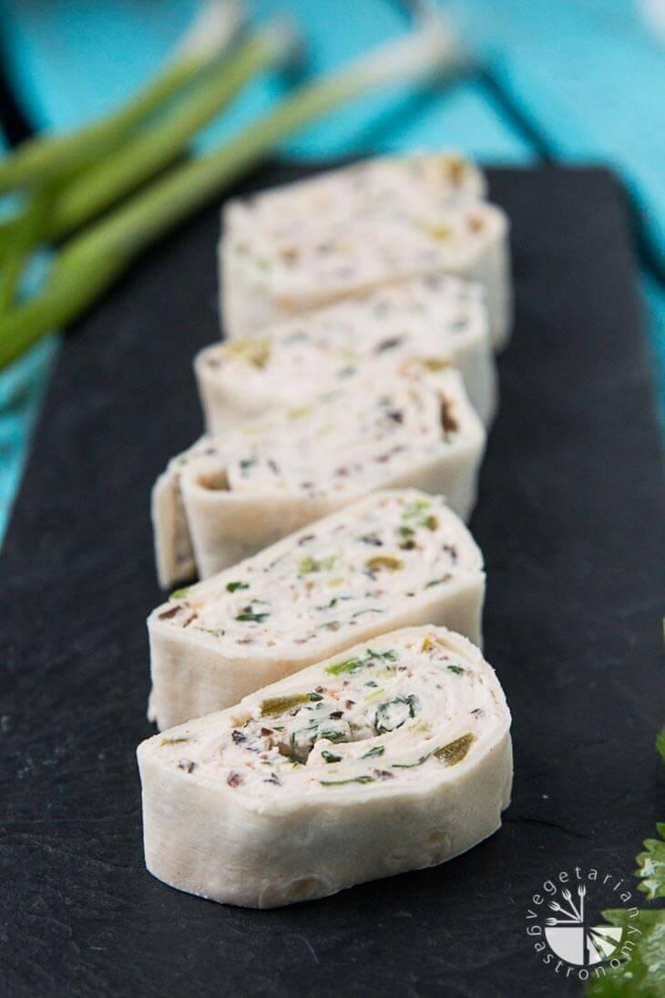 Vegan Mexican Cream Cheese Tortilla Pinwheels
