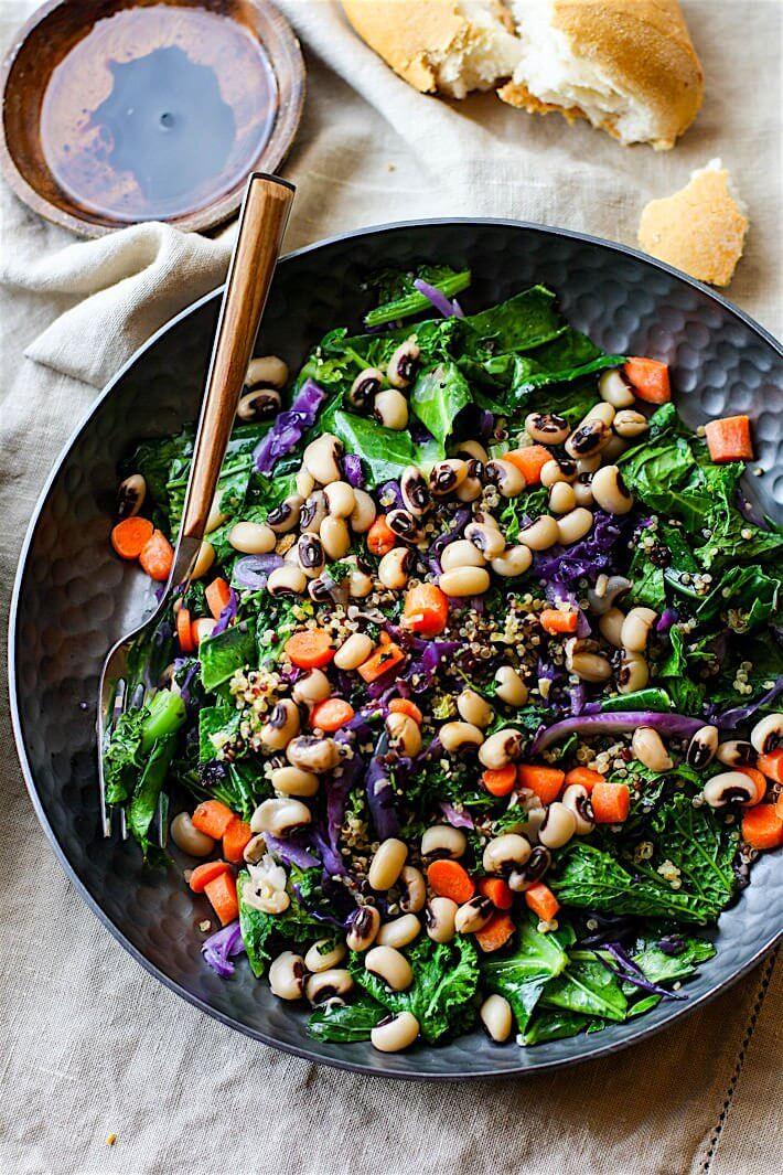 Vegan Rainbow Power Greens Salad with Black Eyed Peas