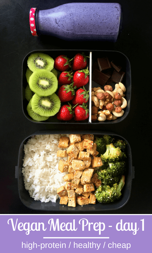 Vegan Soy Sauce Tofu Broccoli Stir Fry Blueberry Oat Smoothie | thegreenloot.com #vegan #mealprep