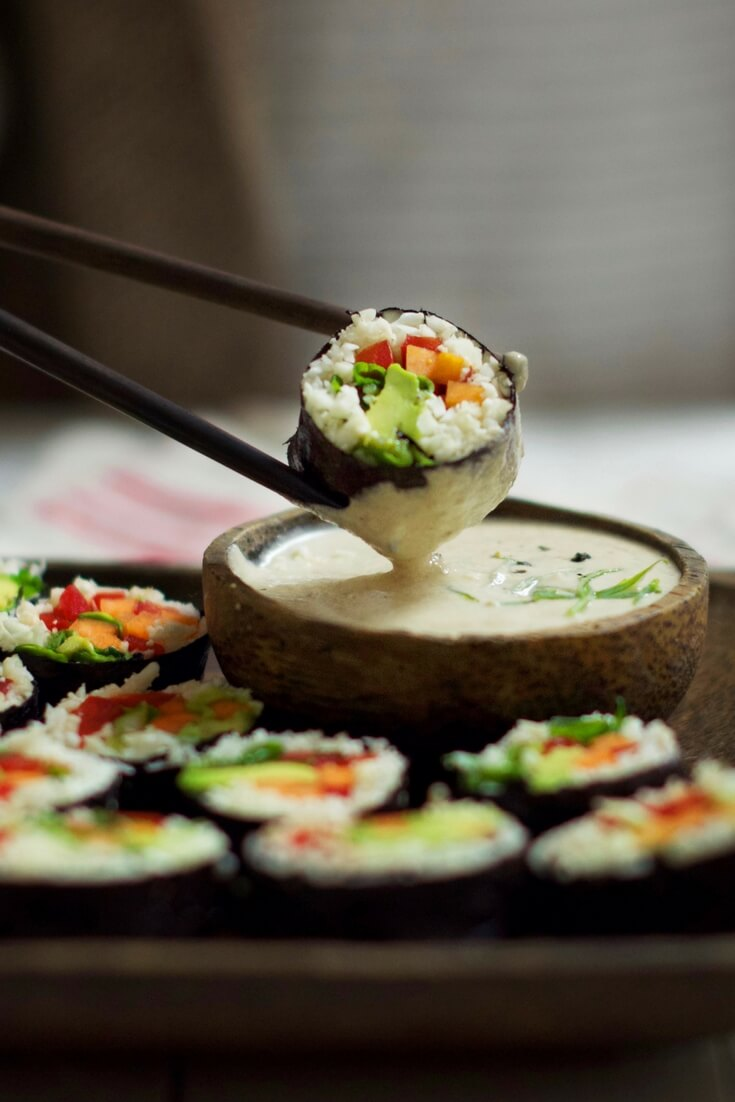 Raw Vegan Cauliflower Rice Sushi | #raw #vegan