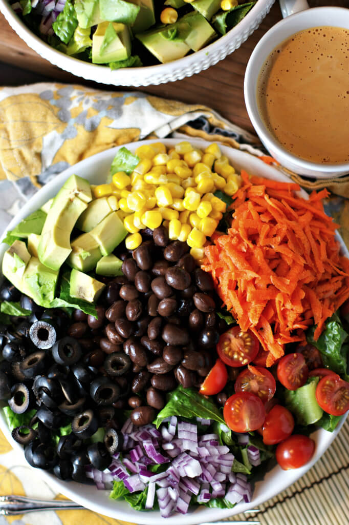 Raw Vegan Chopped Salad with Spicy Chipotle Dressing | #raw #vegan