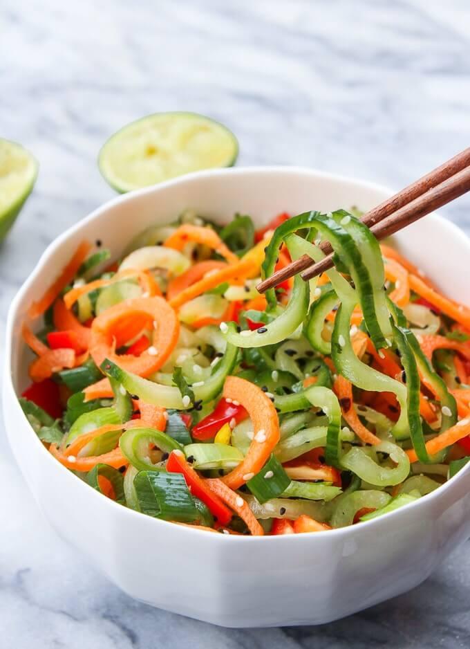 Raw Vegan Asian Cucumber Sesame Salad