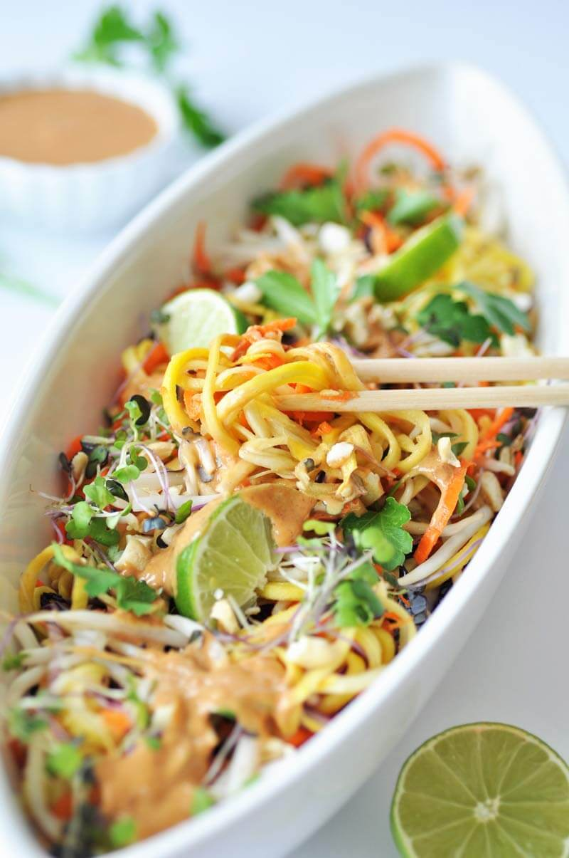 Raw Vegan Sprouts Pad Thai with a Spicy Peanut Sauce