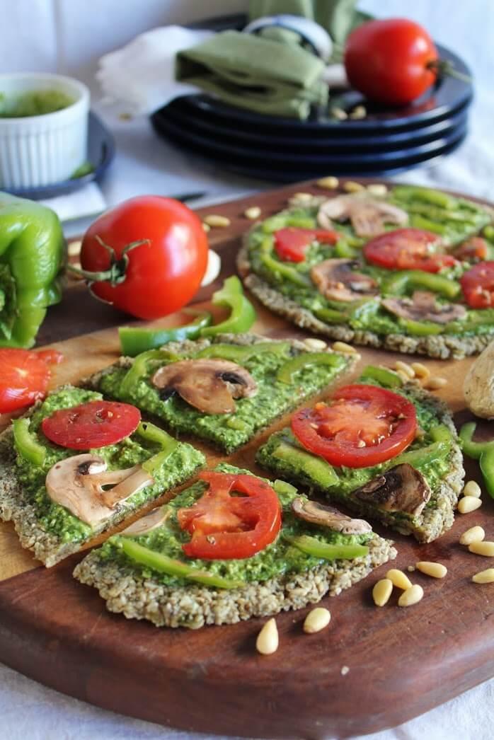 Raw Vegan Spinach Pesto Veggie Pizza