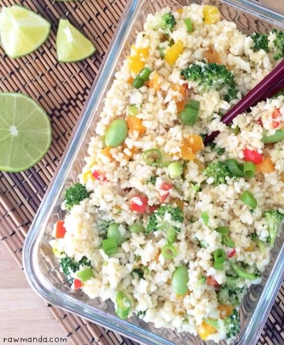 Raw Vegan Cauliflower Fried Rice | #raw #vegan