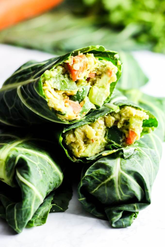 Raw Vegan Avocado Chickpea Salad Collard Wraps | #raw #vegan