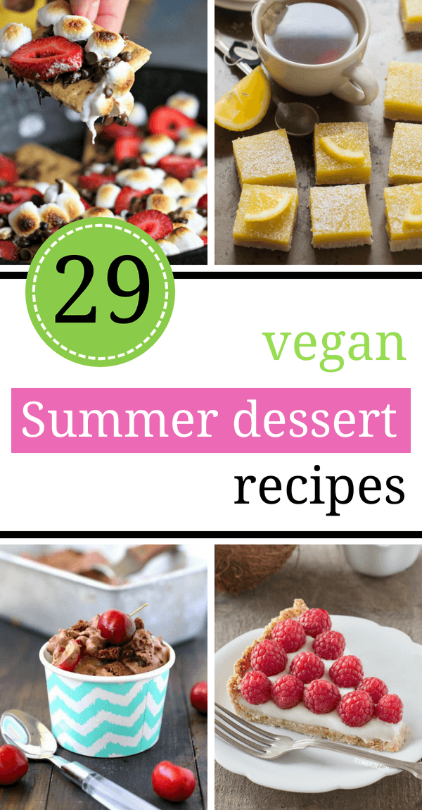 These easy Vegan Summer Dessert Recipes are light, made with only a few ingredients and mostly healthy! If you are looking for ideas that involve dairy-free, egg-free, no-bake, fruity desserts with berries, look no further. | The Green Loot #vegan #veganrecipes #Summer