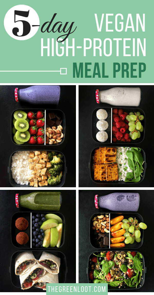 5-Day of easy, High-Protein Vegan Meal Prep ideas for Weight Loss. Tasty recipes on a budget, to prepare for the week on a lazy Sunday. Learn how to healthy meal prep, like a pro! | The Green Loot #vegan #veganrecipes #mealprep #weightloss