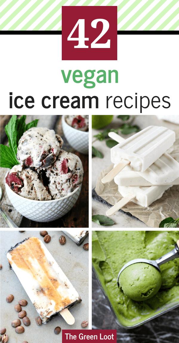 These easy Vegan Ice Cream Recipes are dairy-free and healthy, so you can cool down on the hottest Summer days without guilt. Homemade treats made from banana, coconut cream, no churn and without eggs. | The Green Loot #vegan #veganrecipes