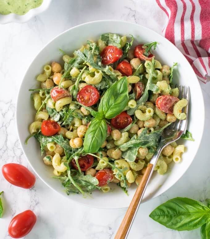 Vegan Chickpea Pesto Pasta Salad