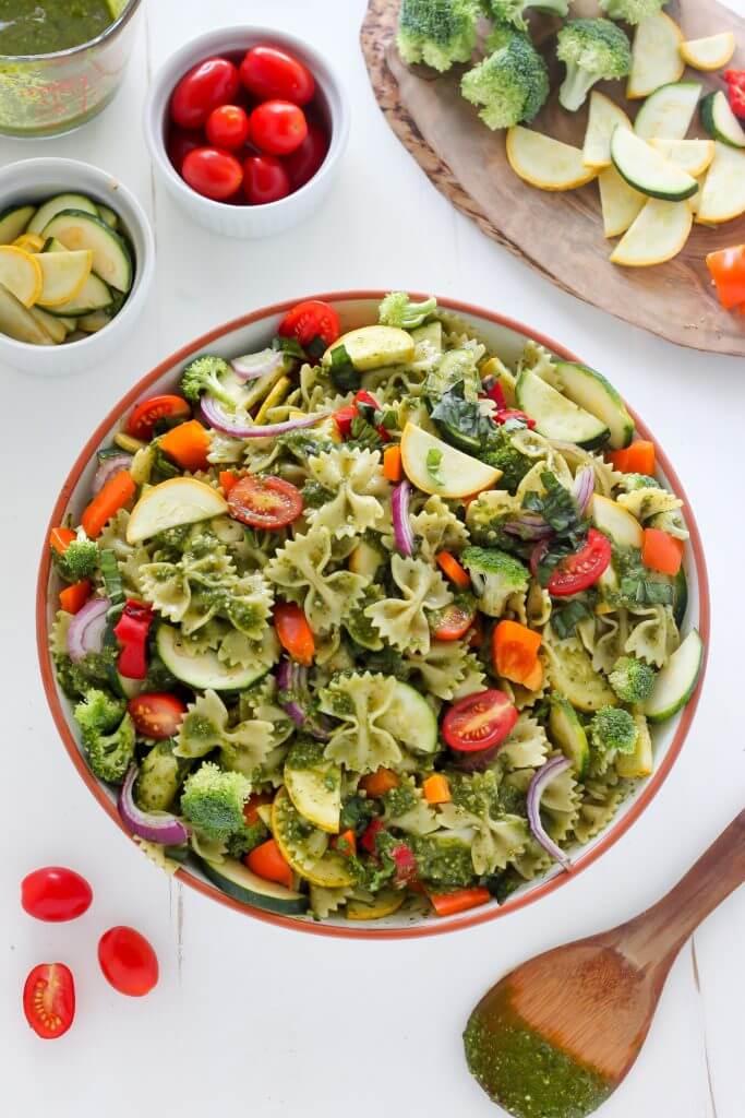 Vegan Rainbow Veggie Pasta Salad