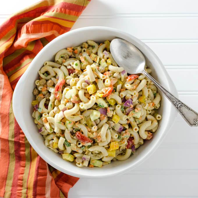 Vegan Veggie Pasta Salad with Avocado Mustard Dressing