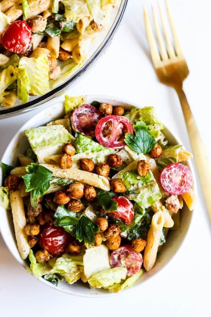 Vegan Chickpea Caesar Pasta Salad