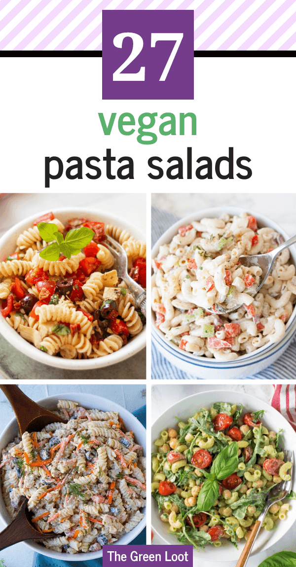 These cold Vegan Pasta Salad Recipes are perfect for easy Summer dinners or light BBQ side dishes. They are made with creamy dressings, beans, veggies..etc. | The Green Loot #vegan #veganrecipes