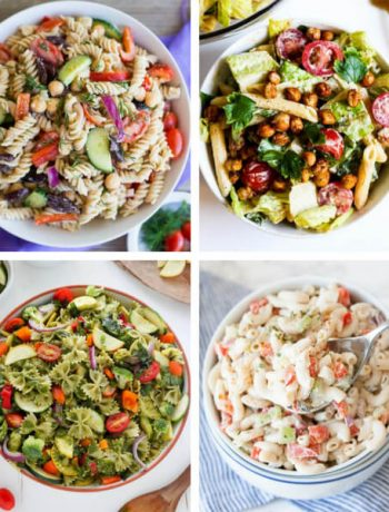 These are the best, healthy Vegan Pasta Salad Recipes. They are easy, perfect for the Summer or any season. Made with creamy dressings and veggies. | The Green Loot #vegan #veganrecipes #Summer