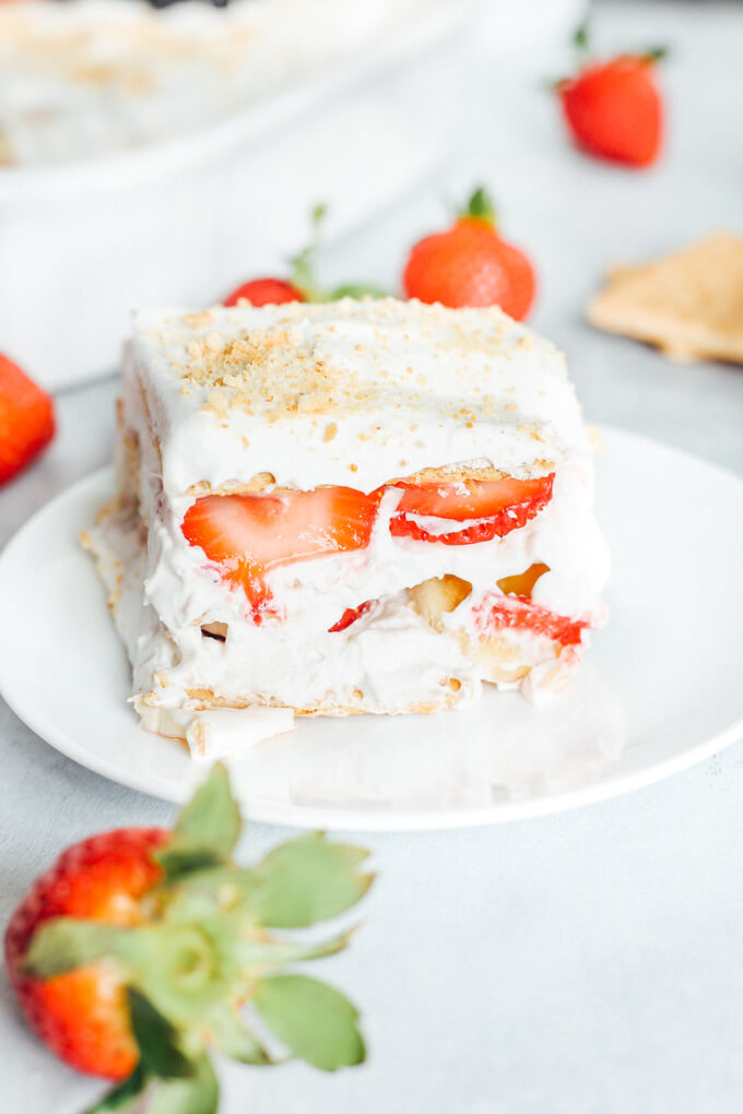 Vegan Strawberry Banana Icebox Cake