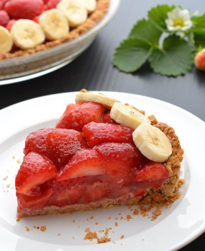 Vegan Strawberry Pie with Walnut-Oat Crust (gf)